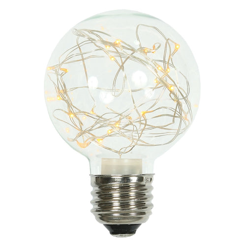 Glass Bulb with Fairy Lights,  G95 5 Inch, E26/E27, Yellow