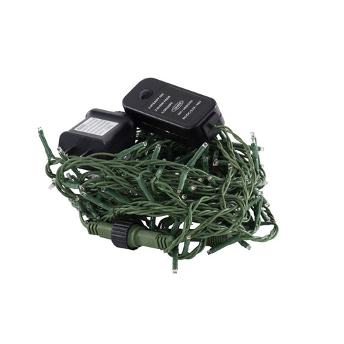 LED Cluster Garland String Lights, 24 ft Green Wire, Warm White