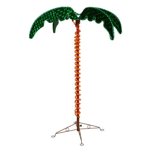 5 Foot Tall Electric Green Palm Tree, LED Lights, Outdoor