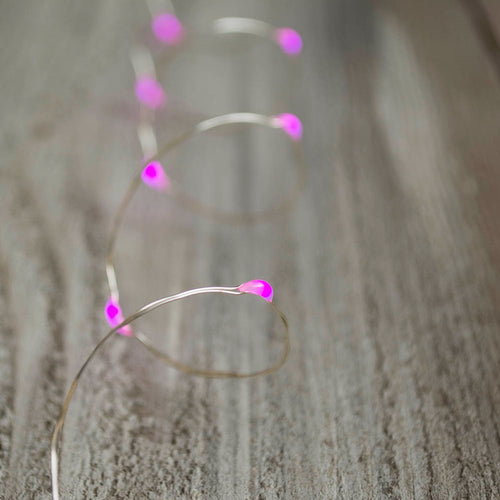 Fairy Lights, 35 LEDs, 11 ft Silver Wire, Multi Function, Pink