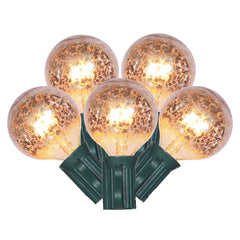 Mercury Glass String Lights, G40 Globe, 10 Feet, Warm White