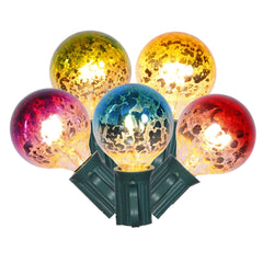 Mercury Glass String Lights, G40 Globe, 10 Feet, Multi Color