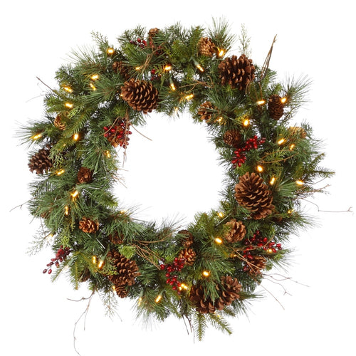 30 Inch Lighted Wreath Pine Cones and Berries, 50 Warm White LED