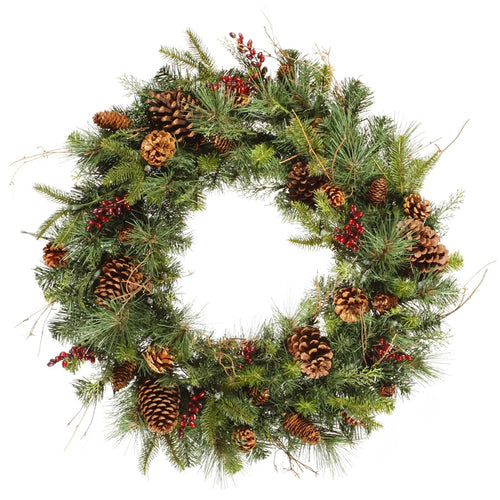 30 Inch Wreath with Pine Cones and Berries