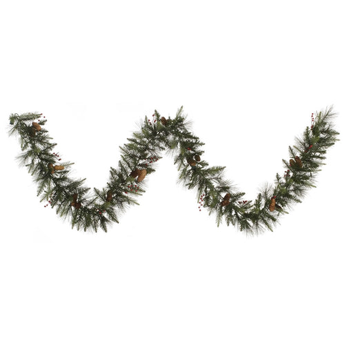 9 Ft Garland with Pine Cones and Berries, 12 Inches Wide