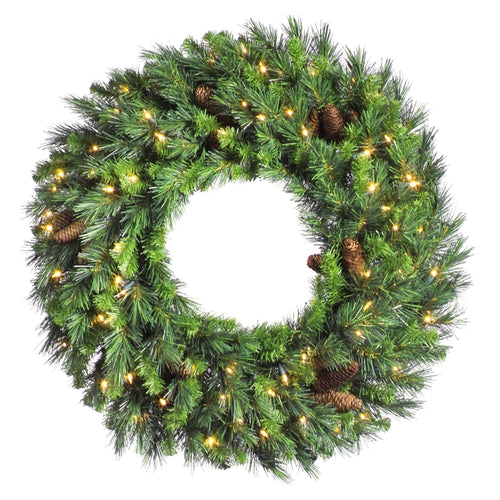 30 Inch Lighted Cheyenne Pine Wreath Pine Cones, 50 Warm White LED