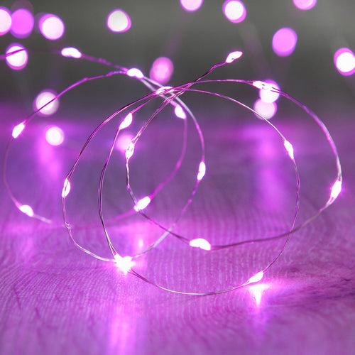 LED Fairy Lights, 6.5 Foot Silver Wire, 20 LEDs, Battery Operated, Purple