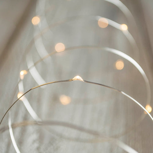 LED Fairy Lights, 33 Foot Silver Wire, 100 LEDs, USB, Warm White