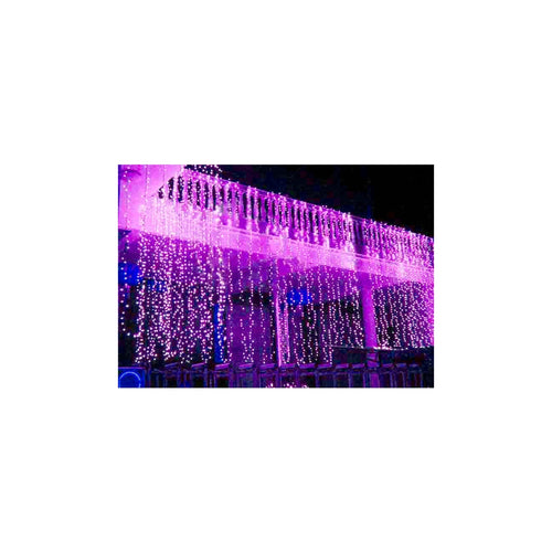 Curtain Lights, LEDs, 9 ft x 9 ft, Plug-in, Multi Function, Purple