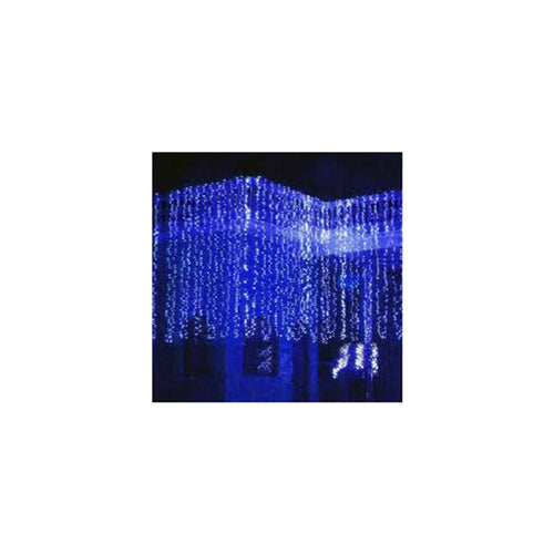 Curtain Lights, LEDs, 9 ft x 9 ft, Plug-in, Multi Function, Blue