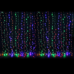Curtain Lights, LEDs, 9 ft x 9 ft, Plug-in, Multi Function, Multicolor