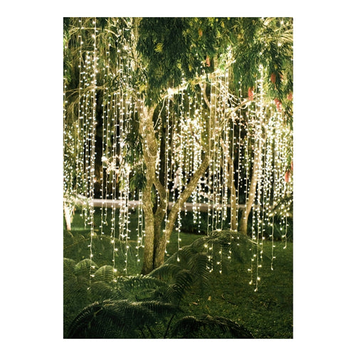 Curtain Lights, LEDs, 18 ft x 9 ft, Plug-in, Multi Function, Warm White