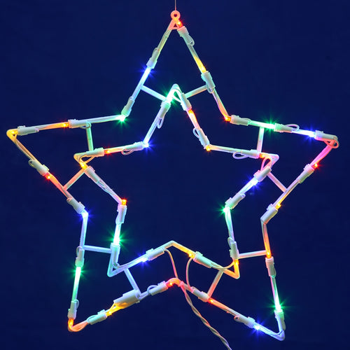 Window Decorations, Lighted Holiday Star, Plug In, 15 Inch, Multicolor