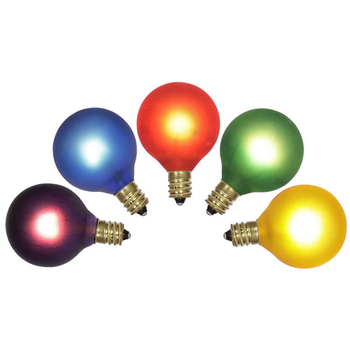 Replacement Globe Light Bulb, G40, 7W/E12, Assorted Satin, 5 Pk, TWINKLING