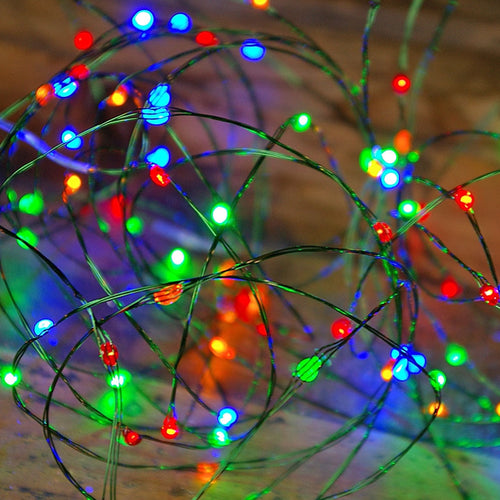 LED Fairy Lights, Green Wire, Plug-in, 96 LED, Multicolor