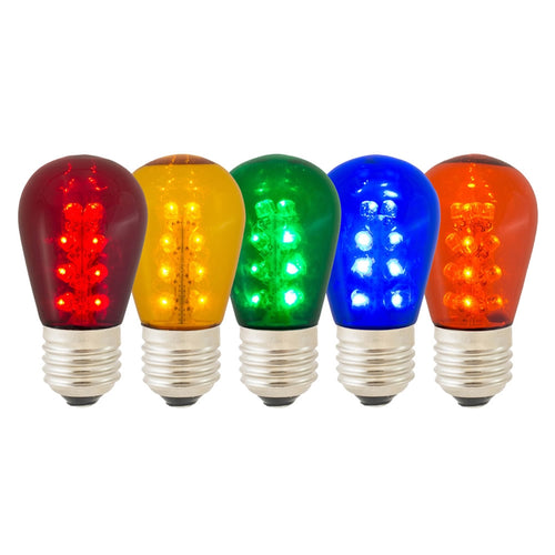 Replacement LED S14 Edison Bulb, 1.3W/120V, Multicolor, 25 Pack
