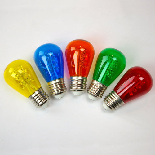 Replacement LED S14 Edison Bulb, 0.7W/120V, Multicolor, 25 Pack