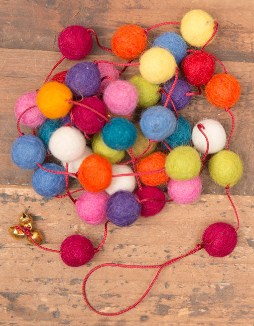 Felt Pom Pom Garland, Handmade Boho Chic Decor, 5.8 feet, Multicolor