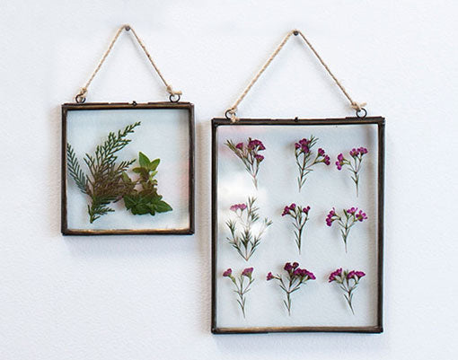 Hanging Picture Frame, Double Glass, Black Metal, 10.25 inch, Clear