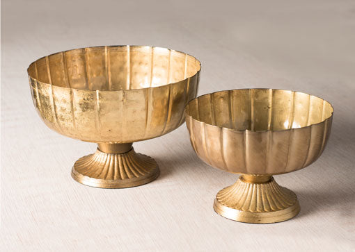 Metal Compote, Round Bowl with Pedestal, Vintage-Inspired, 6.5in, Gold
