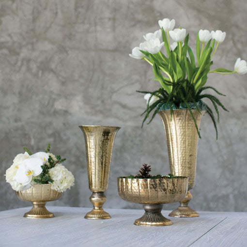 Metal Compote, Round Bowl with Pedestal, Vintage-Inspired, 5.5in, Gold