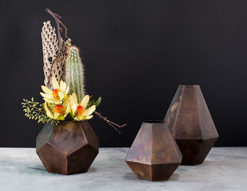 Faceted Metal Bud Vase, Geometric Table Decoration, 8 inch, Bronze