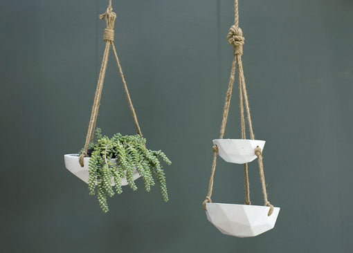 Hanging Vase, Geometric Concrete Bowl, Two-Tiered, 31 inch, White