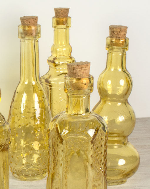 Glass Bottles with Corks, Vintage Styled Bud Vases, 5.5 in, Amber Yellow, 10 Pieces