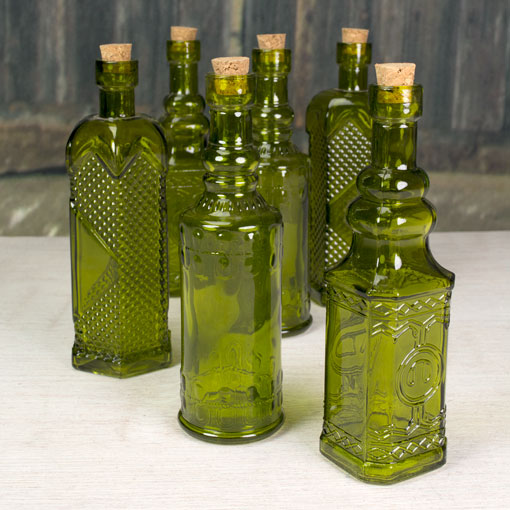 Glass Bottles with Corks, Vintage Styled Bud Vases, 5.5 in, Olive Green, 6 Pieces
