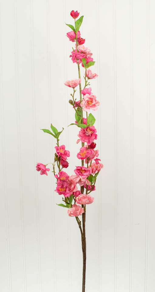 Faux Cherry Blossom Branch, Artificial Flower Blooms, 41 in, Pink