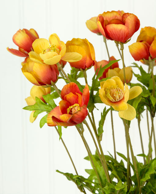 One 7 Branch Bouquet of 21 Orange and Red Poppies