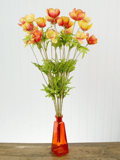 One Decorative Flower Branch with 21 Orange Red Poppies