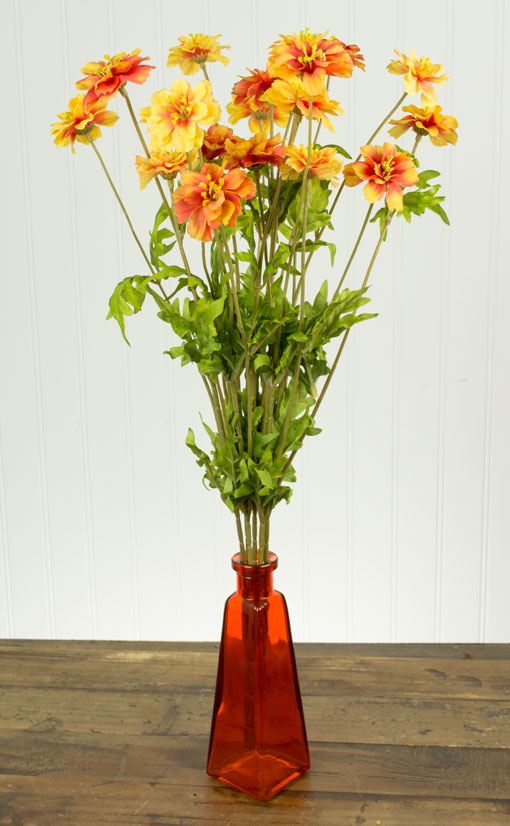 One Decorative Flower Branch with 21 Orange Red Daisy Wildflowers