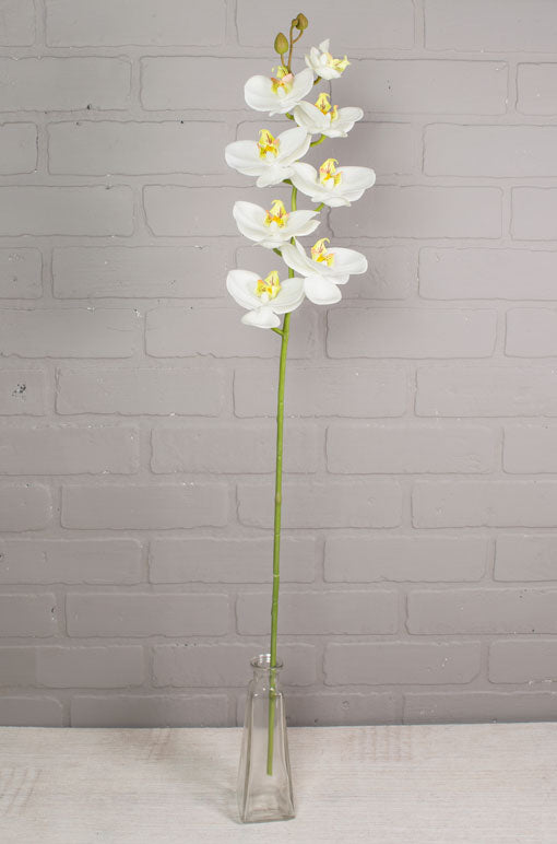 One Flexible Decorative Flower Branch with White Butterfly Phalaenopsis Orchids