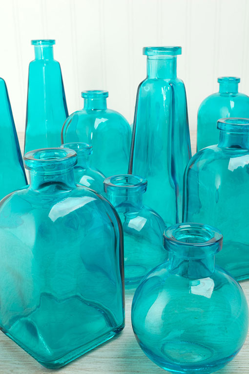 Glass Bottle Bud Vases, 3 Shapes, Food Safe, Cork Compatible, 3-7 inches, Aqua Blue, 12 Pc