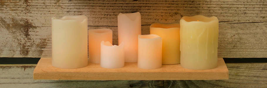 Grouping of Real Wax Flameless Candles, Pillar and Votive