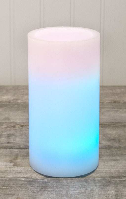 flickering amber wax pillar candle