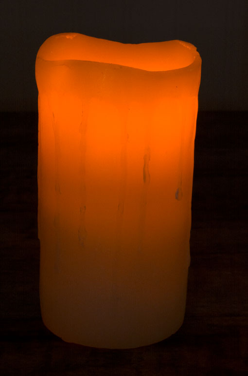 Battery Operated Pillar Candle, Real Dripping Ivory Colored Wax, Amber Flickering Flame, 6 in
