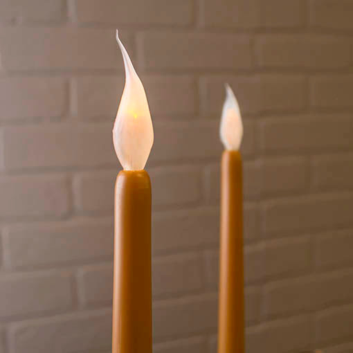 LED Mustard Taper Candle Stick with Silicone Bulb, Flicker, 11 inches, 2 Pack