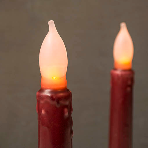 Taper Candle, 6 inch with Flickering Amber LED Bulb, Set of 2, Burgundy