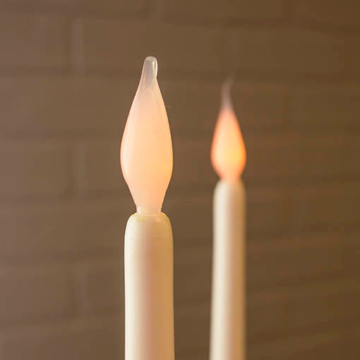 11 in. White Tapered LED Candle Stick with Silicon Bulb, Timer, 2 Pack