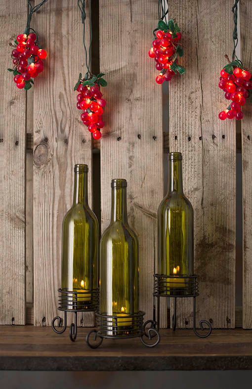 Grape lights pair with wine bottle lights and votive candles, sold separately.
