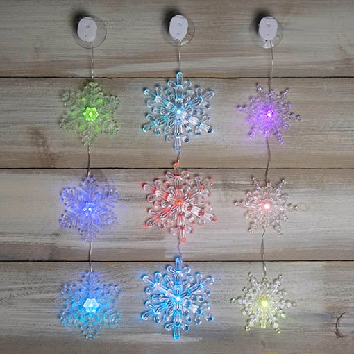 Color Changing Snowflake Garland, LED Lights