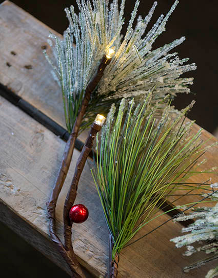 frosted pine with berries garland