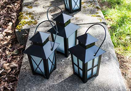 Black Candle Lanterns with Handles