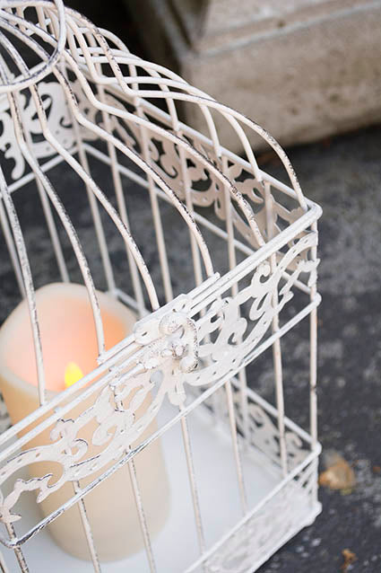 Bird Cage with Candle, White