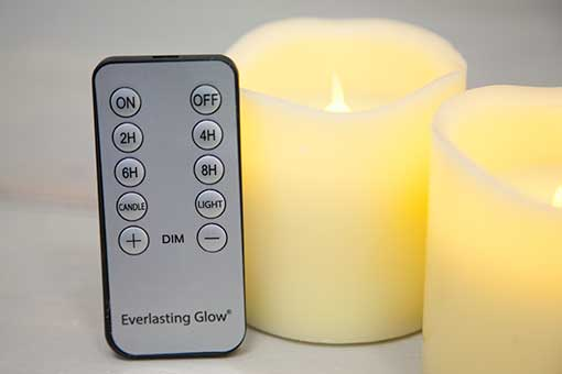 Flameless Pillar Candle Three-Pack with Remote