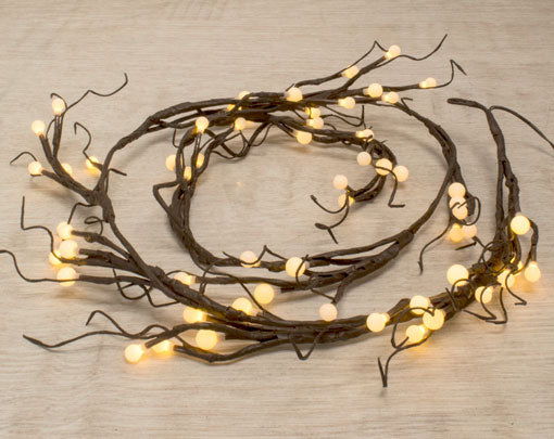 Lighted Brown Garland, 60 Battery Operated LEDs, 6 ft long, Warm White