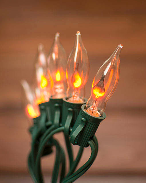 Enjoy the glow of realistic faux flame with our flickering flame string lights!