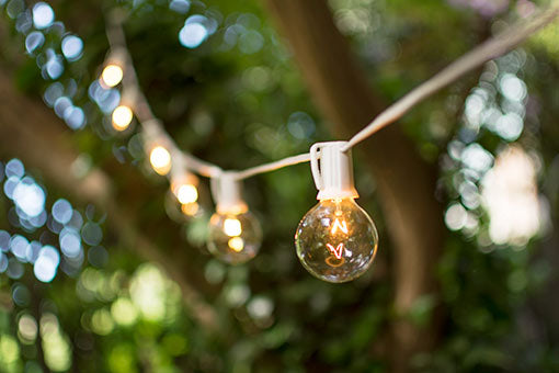 Globe String Lights, 2 Inch E17 Bulbs, 50 Foot White Wire C9 Strand, Clear